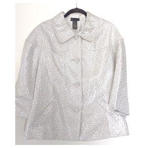 LANE BRYANT Silver Jacquard Jacket Size 20